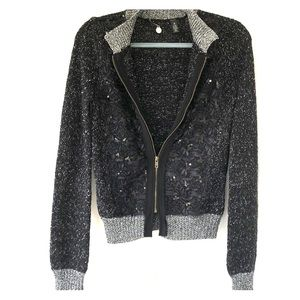 Bke embellished sweater with zipper